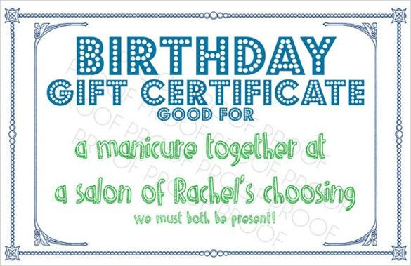 Sample Birthday Gift Certificate Template - 7+ Download Documents ...