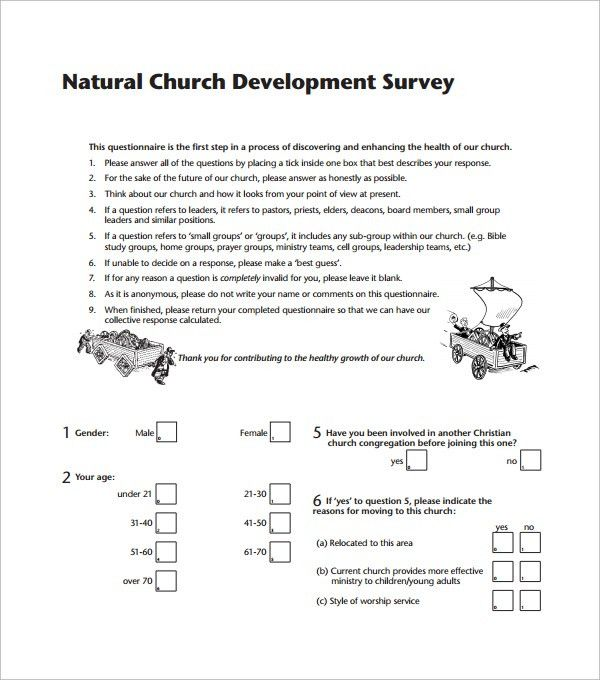 Sample Church Survey Template - 7+ Free Documents in Word, PDF