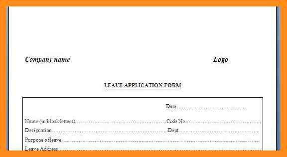 Leave Application Format [Template.billybullock.us ]