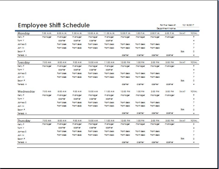 MS Excel Employee Shift Schedule Template   Word & Excel Templates