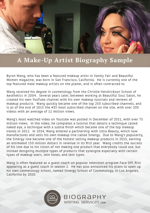 Make-Up Artist Biography Writing | Biography Writing Services
