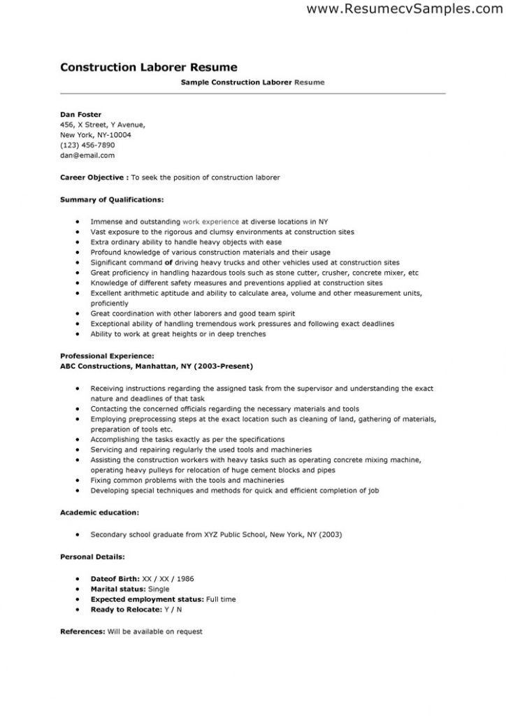 Super Idea Construction Worker Resume 7 Sample Resume Construction ...