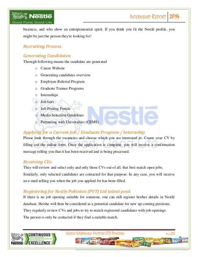 Internship report on Nestle