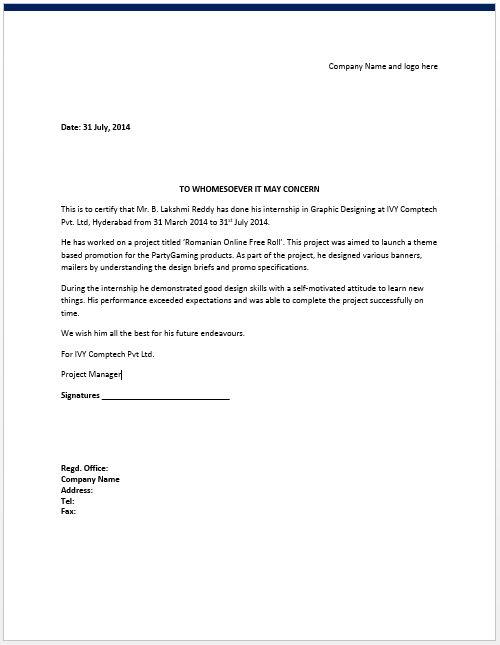 Internship Certificate Template – Microsoft Word Templates