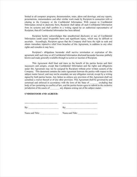 Free legal form: Non-Disclosure Agreement Template