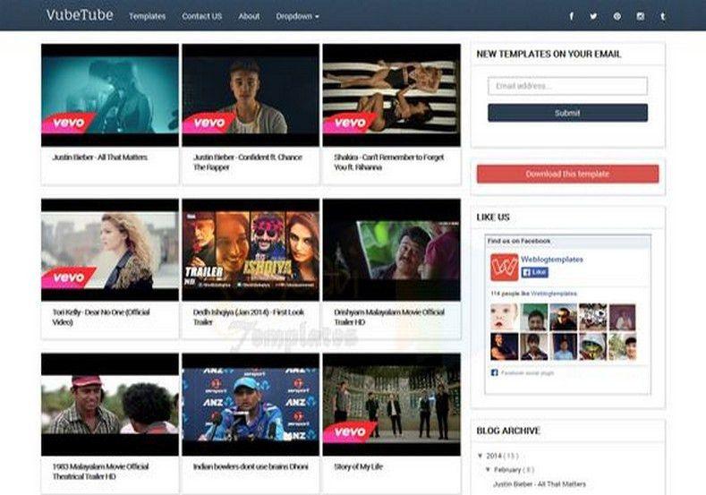 VubeTube Responsive Blogger Template 2014 Free Blogger Templates