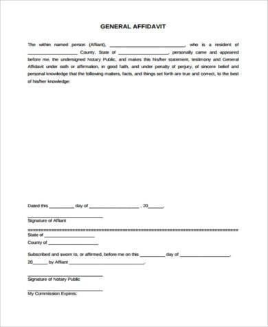 General Affidavit Form Samples - 9+ Free Documents in Word, PDF