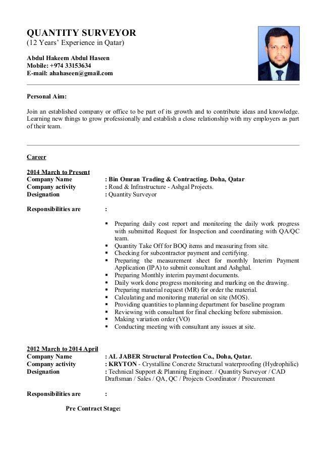 Abdul Haseen - Quantity Surveyor CV