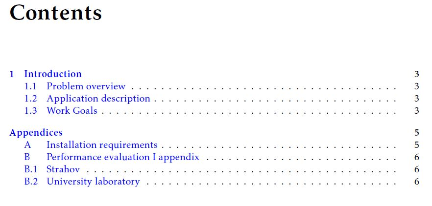 table of contents - Appendices' sections at subsection level in ...