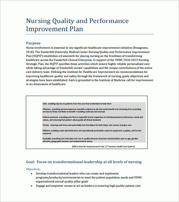 Quality Improvement Plan Template | Template Design