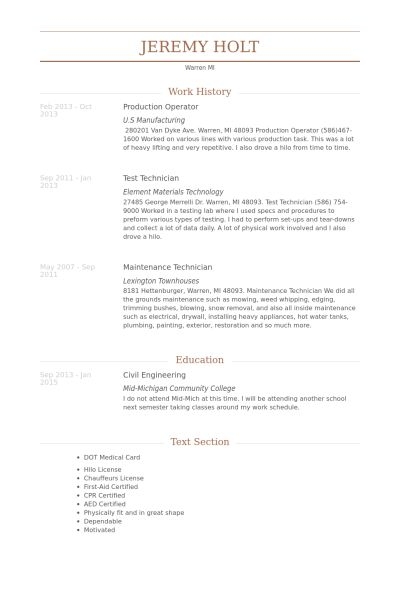 Production Operator Resume samples - VisualCV resume samples database