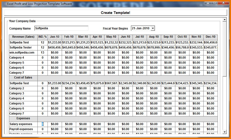 Profit And Loss Template.Excel Profit And Loss Projection Template ...