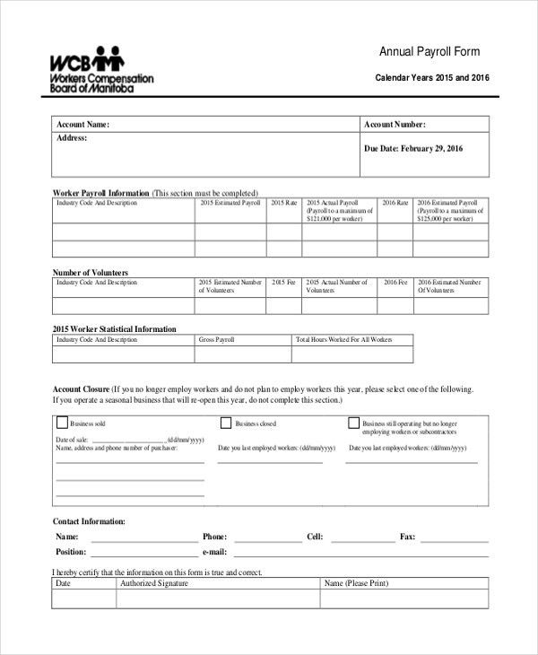 Sample Payroll Forms - 19+ Free Documents in Word, PDF