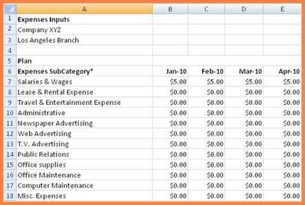 7+ business expenses spreadsheet template | Excel Spreadsheets Group