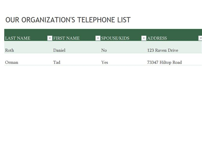 Employee phone list - Office Templates