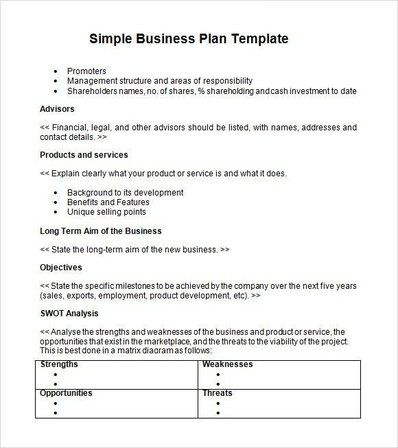 Sample Simple Business Plan Template