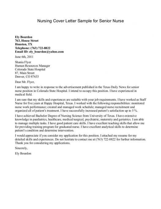 Nurse Cover Letter. Cover Letter Example Nursing Careerperfect In ...