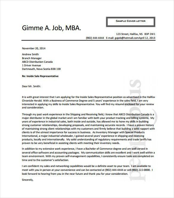 Cover letter medical device sales rep