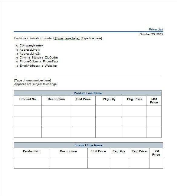 Price List Template – 10+ Free Word, Excel, PDF Format Download ...