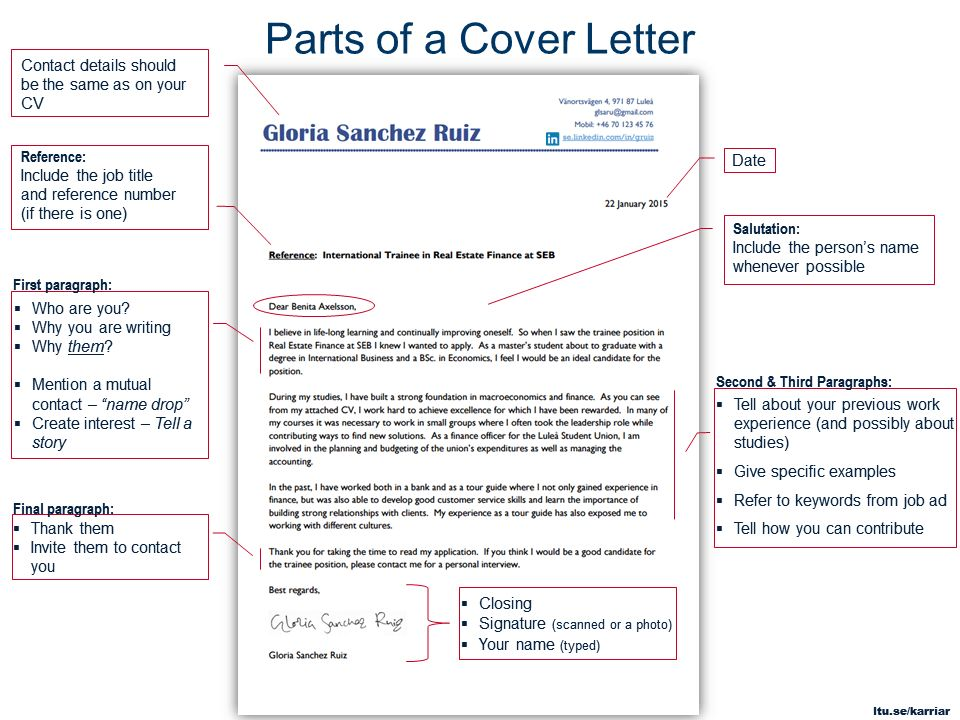 Parts Of A Cover Letter - My Document Blog