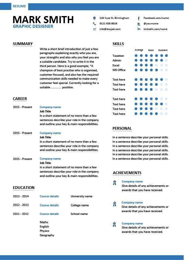 Graphic designer CV sample, resume layout, curriculum vitae ...