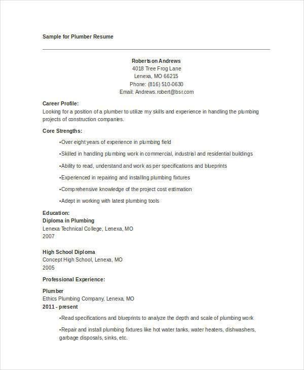 9+ Plumber Resumes - Free Word, PDF Format Download   Free ...