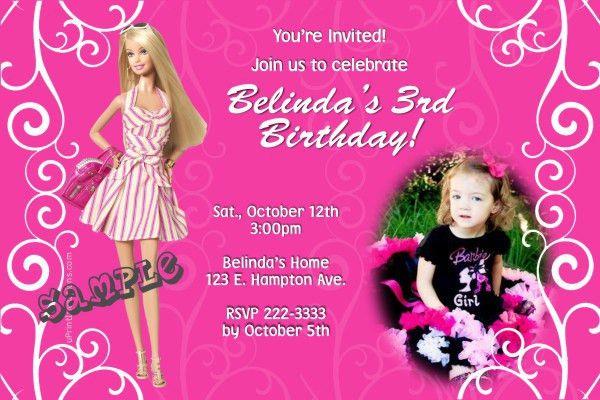 Elegant Barbie Birthday Invitation Cards 84 For Bday Card ...