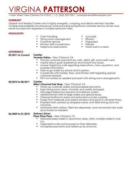 Best Restaurant Cashier Resume Example | LiveCareer