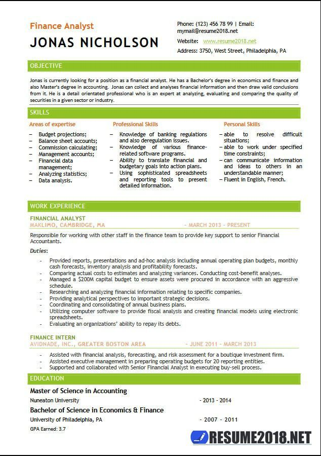 Financial Analyst Resume Samples. Perfect Financial Analyst Resume .