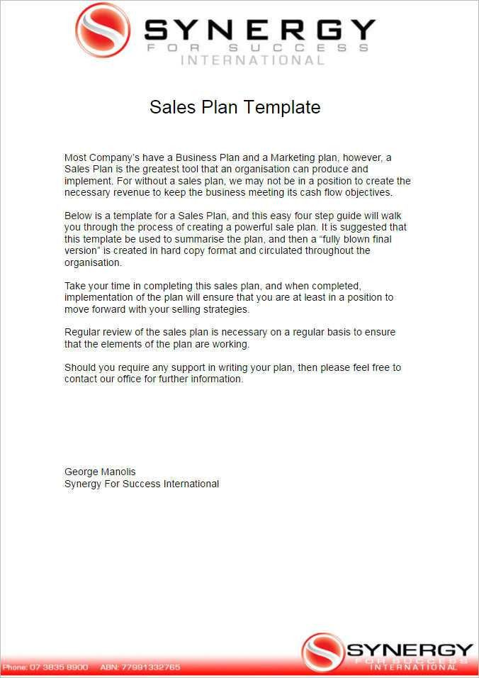 Sales Plan Template - Free Word, Form, PDF Documents | Creative ...