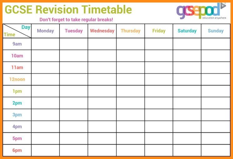 Timetable Template 11 Timetable Templates Free Sample Example – Revision Timetable Template
