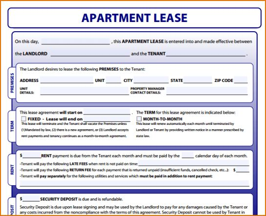 6+ Apartment Rental Lease | Printable Receipt