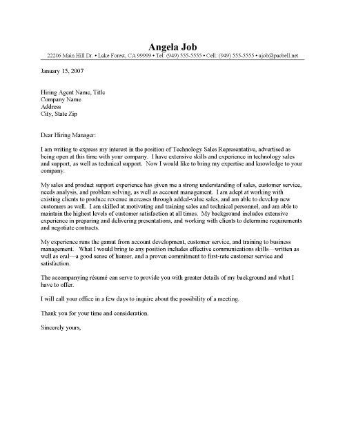 Technology Sales Representative Cover Letter Sample within Sales ...