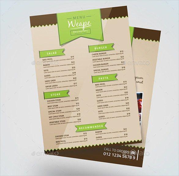31+ Food Menu Templates – Free Sample, Example Format Download ...