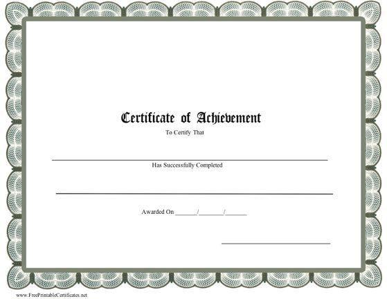 Printable certificate of achievement   Certificate Templates