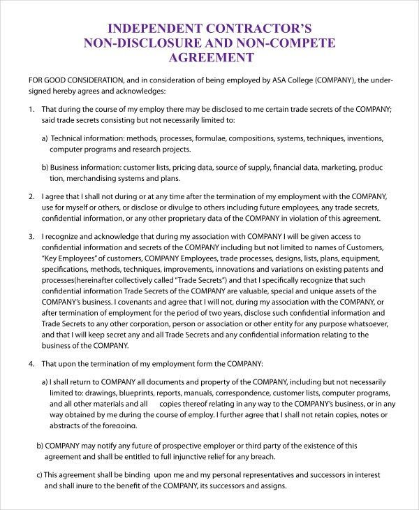 Non Compete Agreement Template - 9+ Free Sample Example, Format ...