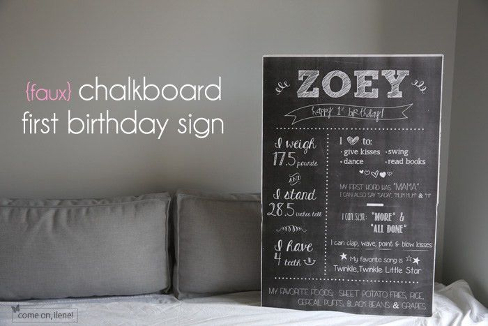 Zoey's 1st Birthday: (faux) Chalkboard First Birthday Sign | come ...