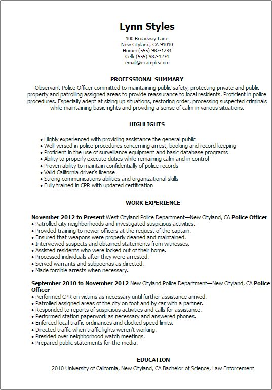 Peachy Ideas Police Officer Resume Example 15 Objective Examples ...