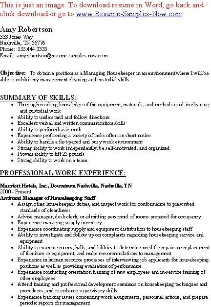 resume housekeeper unforgettable housekeeper resume examples to