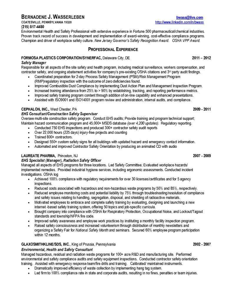 Download Certified Safety Engineer Sample Resume ...