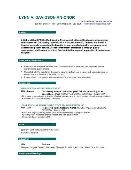 resume template nurse resume cv cover letter. sample resume for ...