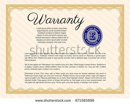 Yellow Formal Warranty Certificate Template Complex Stock Vector ...