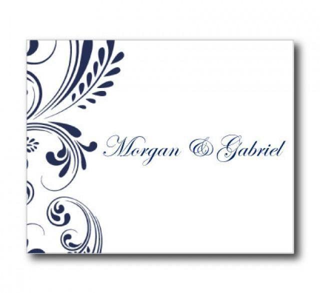 Wedding Thank You Card Template - Navy Wedding - EDITABLE TEXT ...