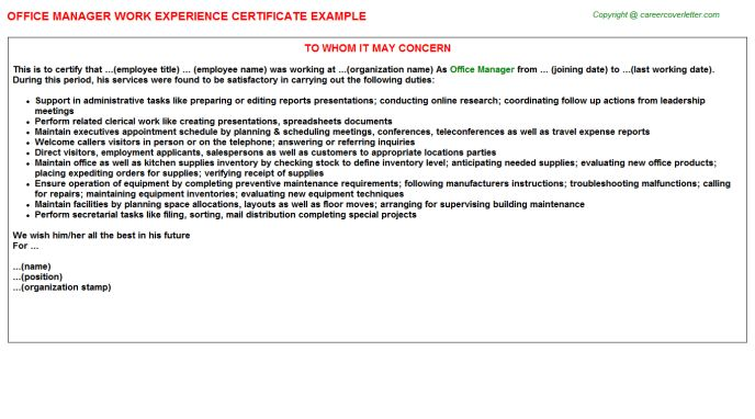 Office Manager Work Experience Certificate