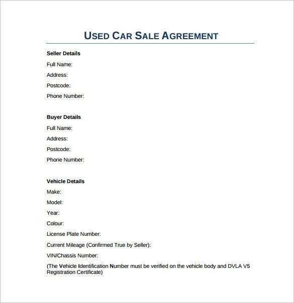 Used Car Sales Agreement  BesikEightyCo