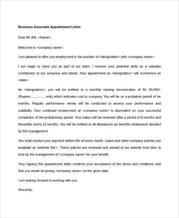 10+ Business Appointment Letter Template - Free Sample, Example ...