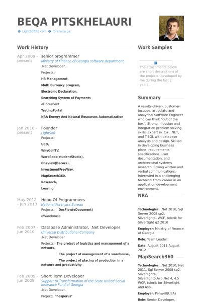 Senior Programmer Resume samples - VisualCV resume samples database