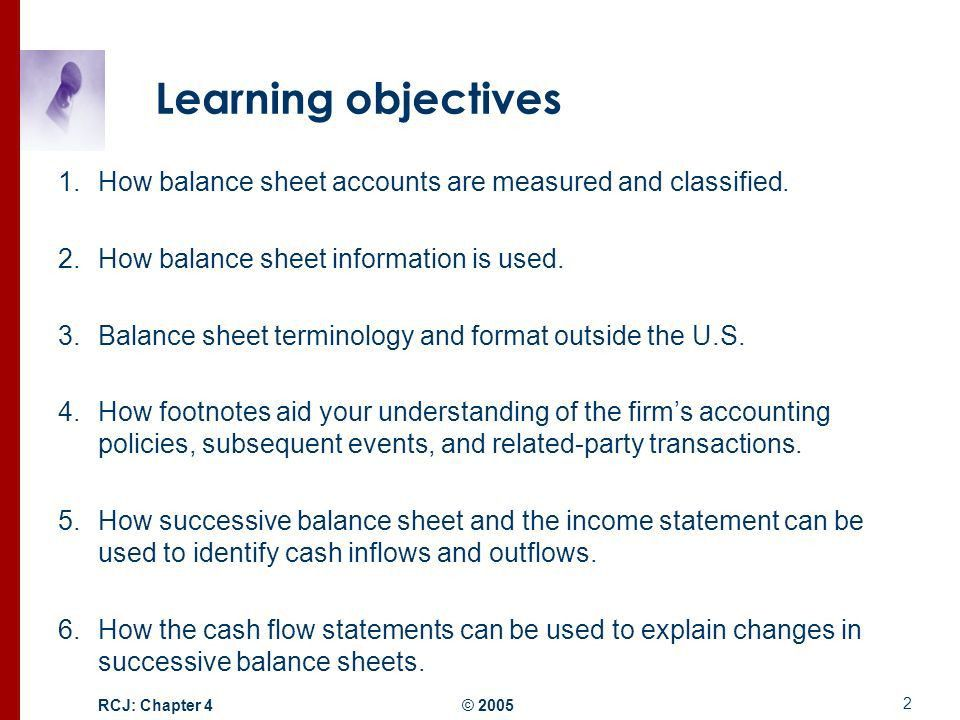 Structure of the Balance Sheet and Statement of Cash Flows - ppt ...