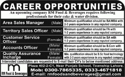 RM Food & Beverages Lahore Jobs 2014 for Sales Manager / Officer ...