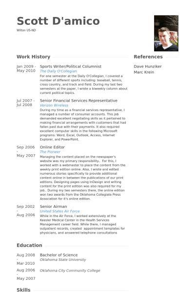 Sports Writer CV Örneği - VisualCV Özgeçmiş Örnekleri Veritabanı